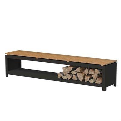 BHG2H houtopslag bank cortenstaal zwart 200x40x43 cm